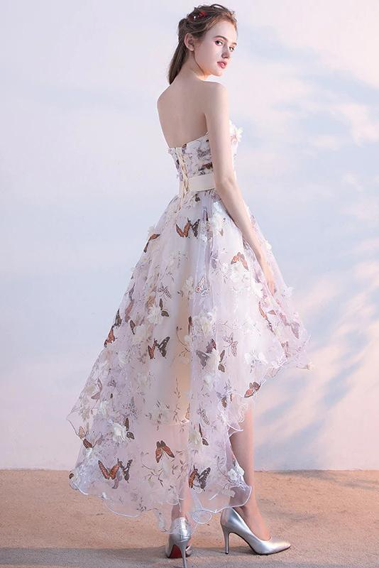 A Line High Low Straps Lace up Tulle Flower Homecoming Dresses Short Prom Dresses JS967