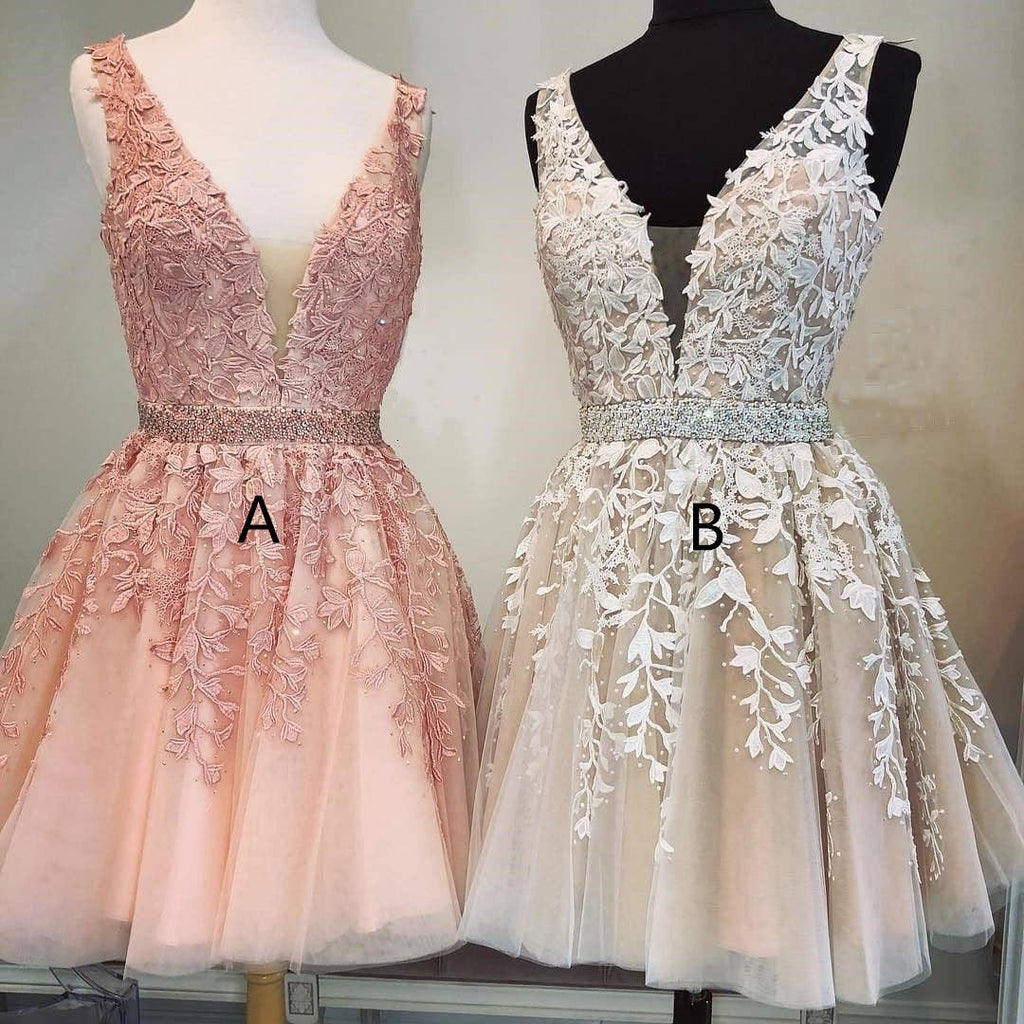 A Line Ivory V Neck Beads Straps Homecoming Dresses with Lace Appliques Short Party Dress H1146