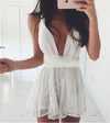 A Line Lace Ivory Deep V Neck Above Knee Homecoming Dresses Short Cocktail Dresses H1025