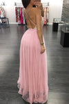 A Line Light Pink Tulle Deep V Neck Prom Dresses Sequins Backless Party Dresses JS351