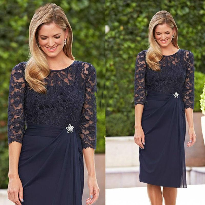 A Line Navy Blue Lace 3/4 Sleeve Short Chiffon Scoop Mother of the Bride Dresses JS423