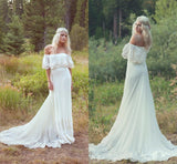 A Line Off the Shoulder Ivory Lace Beach Wedding Dresses Chiffon Bridal Dress W1096