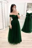 A Line Off the Shoulder Sweetheart Prom Dresses Long Tulle Green Formal Dresses JS898