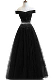 A Line Off the Shoulder Tulle Dark Blue Beads Prom Dresses Long Cheap Evening Dress JS687