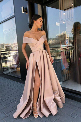 A Line Off the Shoulder V Neck Satin Prom Dresses with High Split Party Dresses SSM885