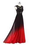 A Line Ombre Lace Appliques Prom Dresses Long Cheap Evening Dresses JS851