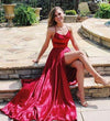 A Line Red Sexy Side Slit Spaghetti Straps Cheap Long Prom Dresses Evening Dresses JS830