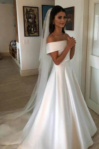 A Line Satin Off the Shoulder Ivory Wedding Dresses Short Sleeves Wedding Gowns JS493