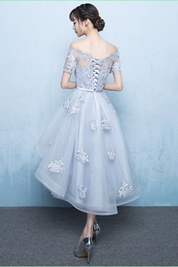 A Line Short Sleeve High Low Lace up Scoop Lace Homecoming Dresses Graduation Dress JS839