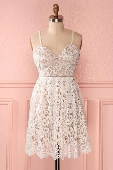 A Line Spaghetti Straps Short Lace Ivory V Neck Homecoming Dress Short Prom Dresses JS857