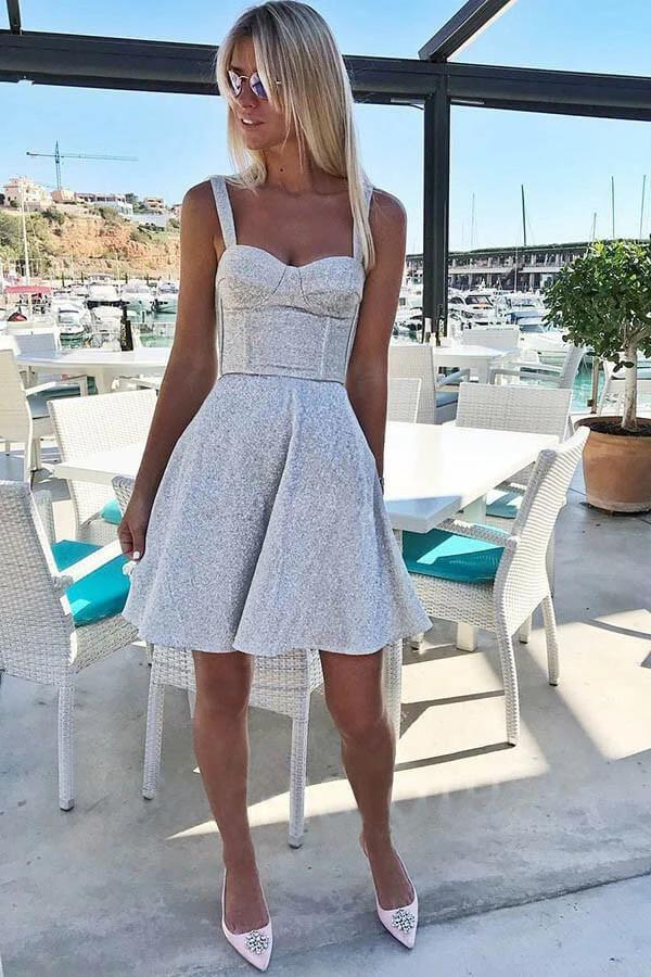 A Line Spaghetti Straps Short Sleeveless Sweetheart Silver Homecoming Party Dresses H1289