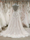 A Line Spaghetti Straps V Neck Beach Wedding Dresses Beaded Bodice Wedding Dresses W1062