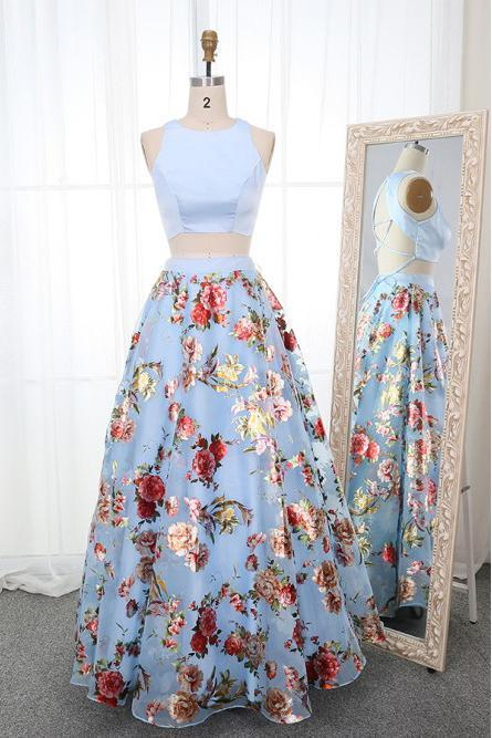 A Line Two Piece Crew Open Back Prom Dresses Light Blue Printed Evening Dresses JS846