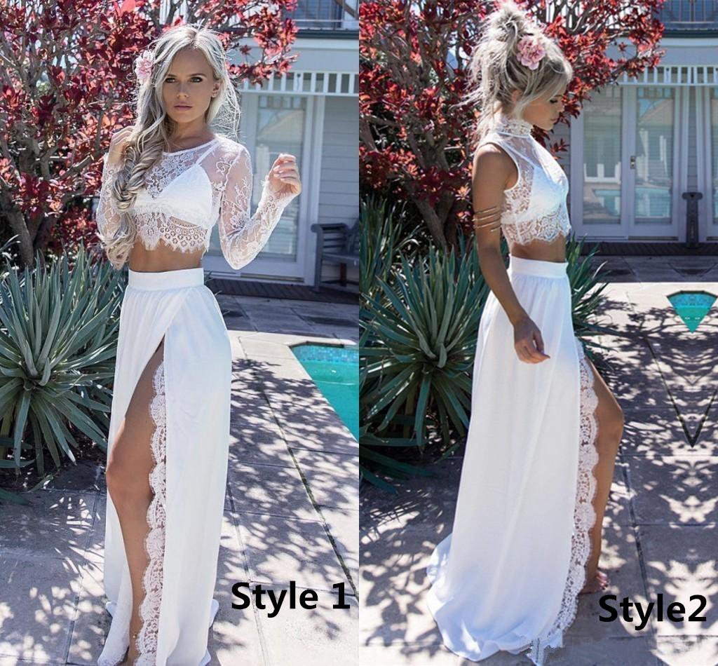 A Line Two Pieces Long Sleeve Prom Dresses Scoop High Slit White Evening Dresses JS665