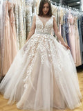 A Line V Neck Long Ivory Lace Appliques Wedding Dresses Beads Tulle Prom Dresses JS598