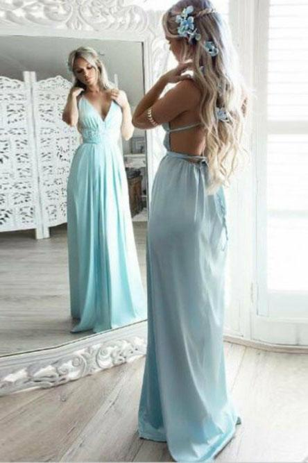 A Line V Neck Spaghetti Straps Blue Chiffon Long Prom Dress Backless Formal Dresses P1125