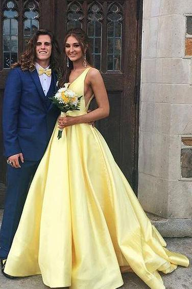 A Line Yellow V Neck Prom Dresses Satin Backless Lace up Long Evening Dresses JS626