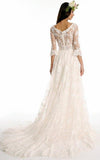 A line Bateau Half Sleeve Lace Wedding Dress With Sweep Train V Back Bridal Dress SSM513