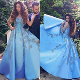 A line Blue Half Sleeve Satin Beads Prom Dresses Sweetheart Lace Appliques Formal Dress JS551