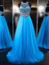 A line Blue Tulle Halter Beads Open Back Prom Dresses Long Evening Dresses JS579