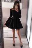 A line Long Sleeve Black Satin Short Prom Dresses Above Knee Cocktail Dresses JS659