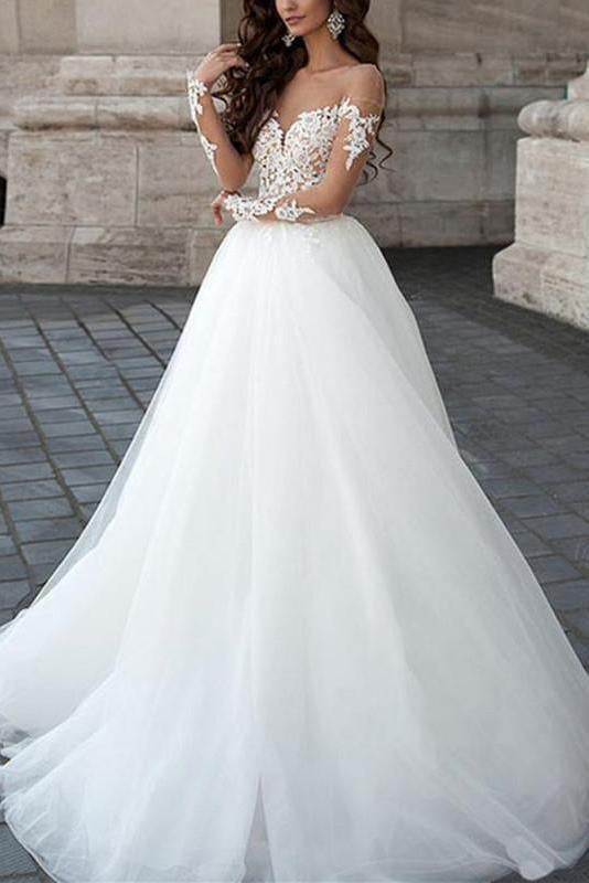 A line Long Sleeve Tulle White Lace Appliques Wedding Dresses Long Wedding Gowns JS561