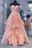 A line Pink Sweetheart Lace Appliques Prom Dresses with Tulle Cheap Party Dresses JS873