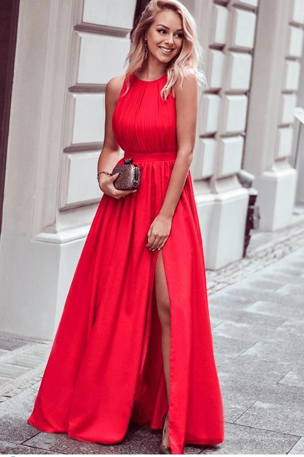 A line Red High Slit Prom Dresses Scoop Ruffles Floor Length Evening Dresses JS677
