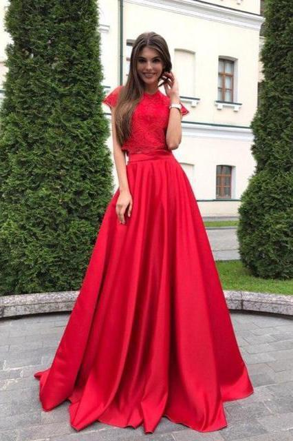 A line Red Lace Satin Prom Dresses Short Sleeve Round Neck Long Evening Dresses JS613