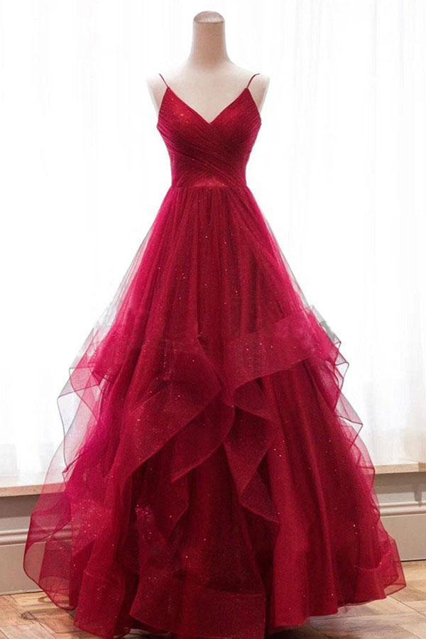 A line Red Ruffles Spaghetti Straps V Neck Prom Dresses Backless Long Evening Dresses JS636