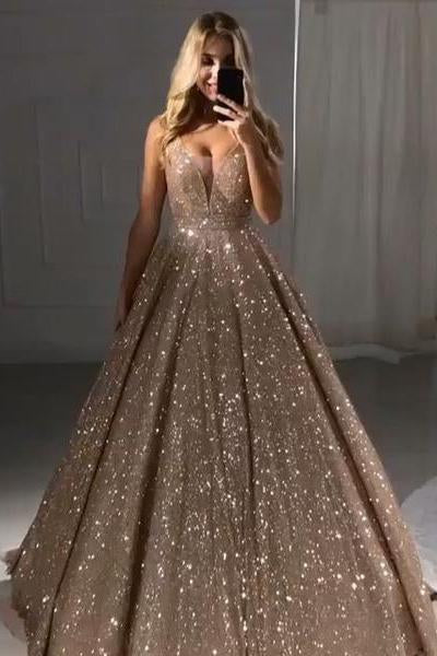 A line V Neck Sequins Prom Dresses Long Straps V Back Evening Dresses JS678