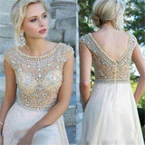 Boat Neck Cap Sleeves Beads Chiffon Long Cheap Long Sexy Backless Prom Dresses JS95