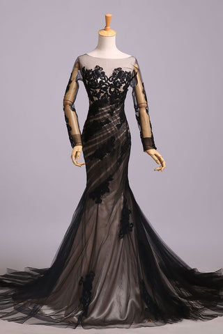 Mermaid Black Tulle Lace Appliques Long Sleeve V Back Scoop Cheap Prom Dresses JS176