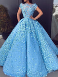 Ball Gown Blue Prom Dresses Floral Lace Bateau Long Cap Sleeve Quinceanera Dresses P1043