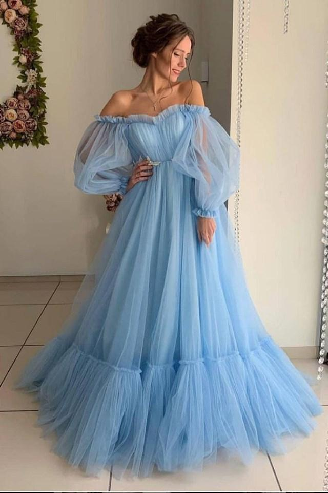 Ball Gown Blue Tulle Prom Dresses Long Sleeve Off the Shoulder Quinceanera Dresses JS930