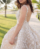 Ball Gown Lace Appliques High Low Backless Beads Wedding Dresses Bridal Dresses JS559
