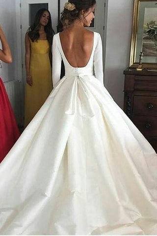 Ball Gown Long Sleeve Backless Ivory Wedding Dresses Long Cheap Bridal Dresses JS655