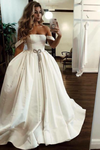 Ball Gown Off the Shoulder Satin Bateau Long Wedding Dresses with Pockets Bridal Dress W1079