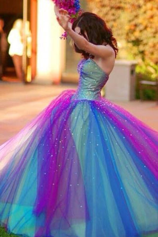Ball Gown Ombre Sweetheart Strapless Tulle Prom Dresses Quinceanera Dresses JS691