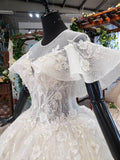 Ball Gown Round Neck Ivory Beads Open Back Wedding Dresses Quinceanera Dresses W1056