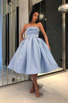 Ball Gown Strapless Satin Blue Short Prom Dresses Tea Length Sleeveless Homecoming Dresses H1132