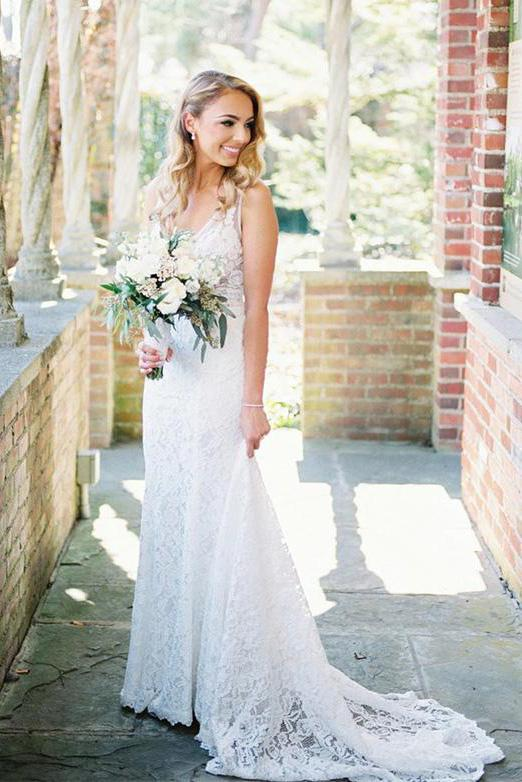Beauty V Neck Long Lace Beach Wedding Dresses Ivory Mermaid Backless Bridal Dress W1008