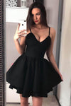 Black Mini Homecoming Dresses Spaghetti Straps A Line Above Knee Short Hoco Dress JS950