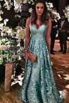 Blue Lace Spaghetti Straps Long Prom Dresses V Neck Sleeveless Evening Dresses JS522