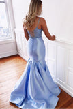 Blue Mermaid Two Piece Satin Lace up Long Prom Dresses V Neck Party Dresses JS638