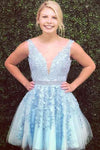 Blue Tulle V Neck Above Knee Beads Lace Appliques Short Homecoming Dresses JS763