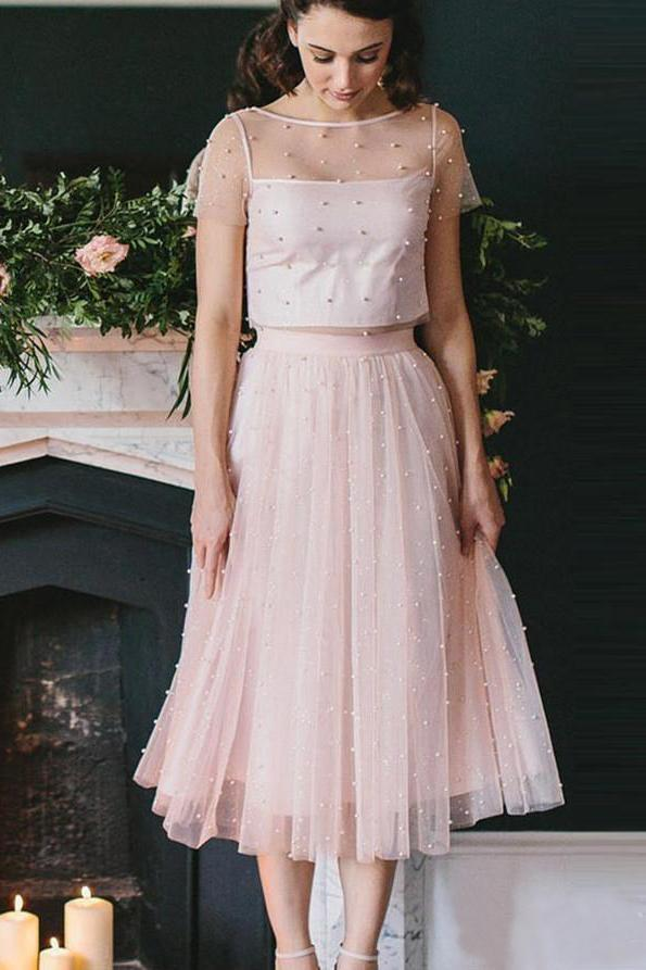 Blush Pink Two Piece Tea Length Tulle Bridesmaid Dresses with Pearls Homecoming Dresses H1123