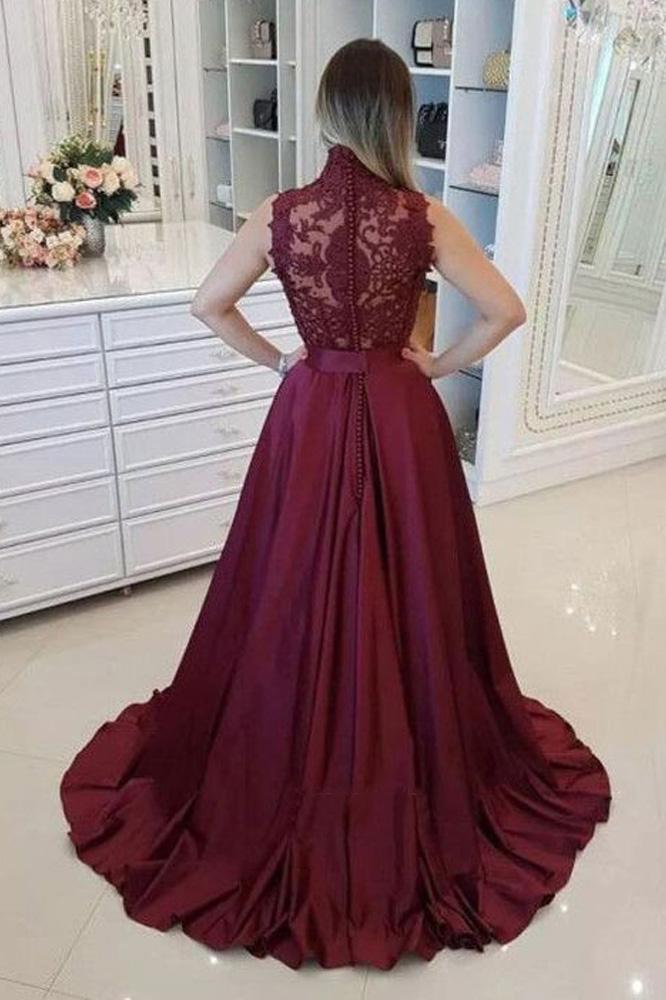 Burgundy High Neck Lace Prom Dresses Beads Satin Long Cheap Party Dresses JS573