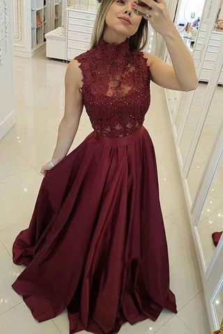 Burgundy High Neck Lace Prom Dresses Beads Satin Long Cheap Party Dresses SSM573