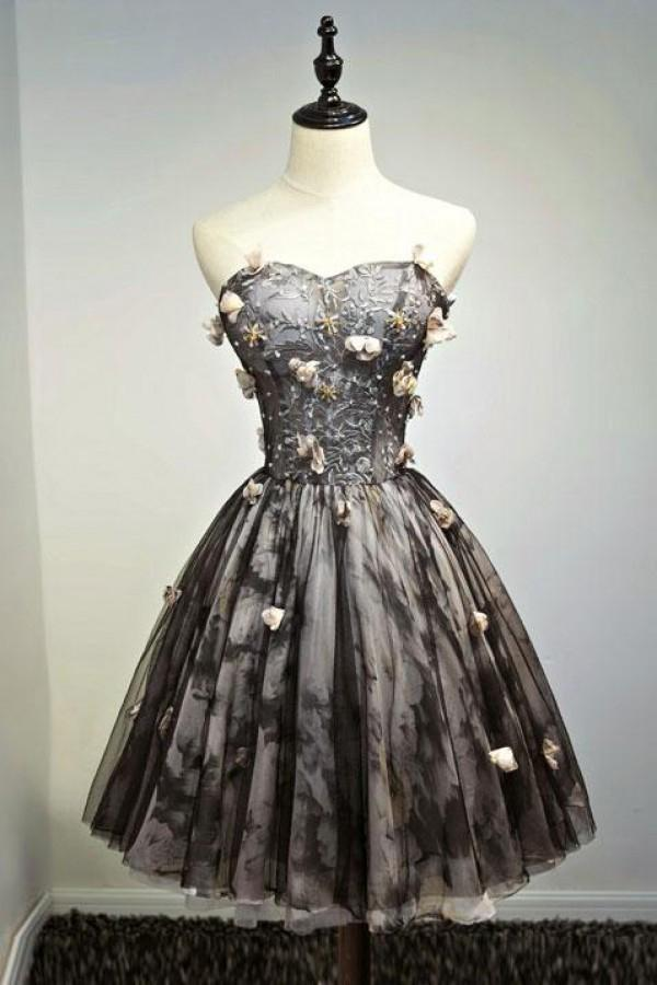 A Line Black Sweetheart Strapless with Flowers Tulle Short School Dress Homecoming Dress JS886
